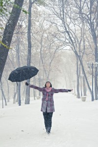 Girl in snow (dreamstime16174987)